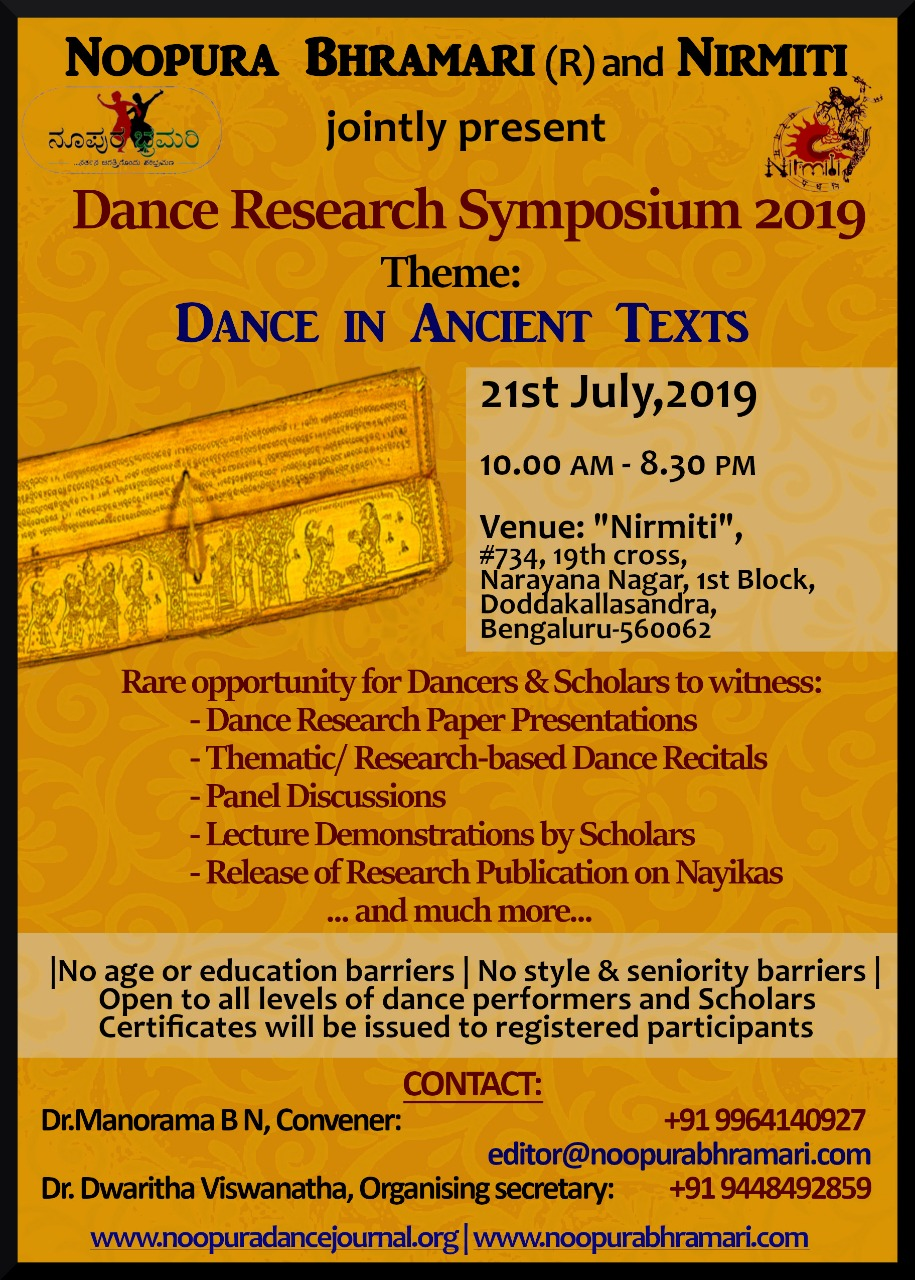 Noopura Bhramari And Nirmiti Dance Research Symposium 2019