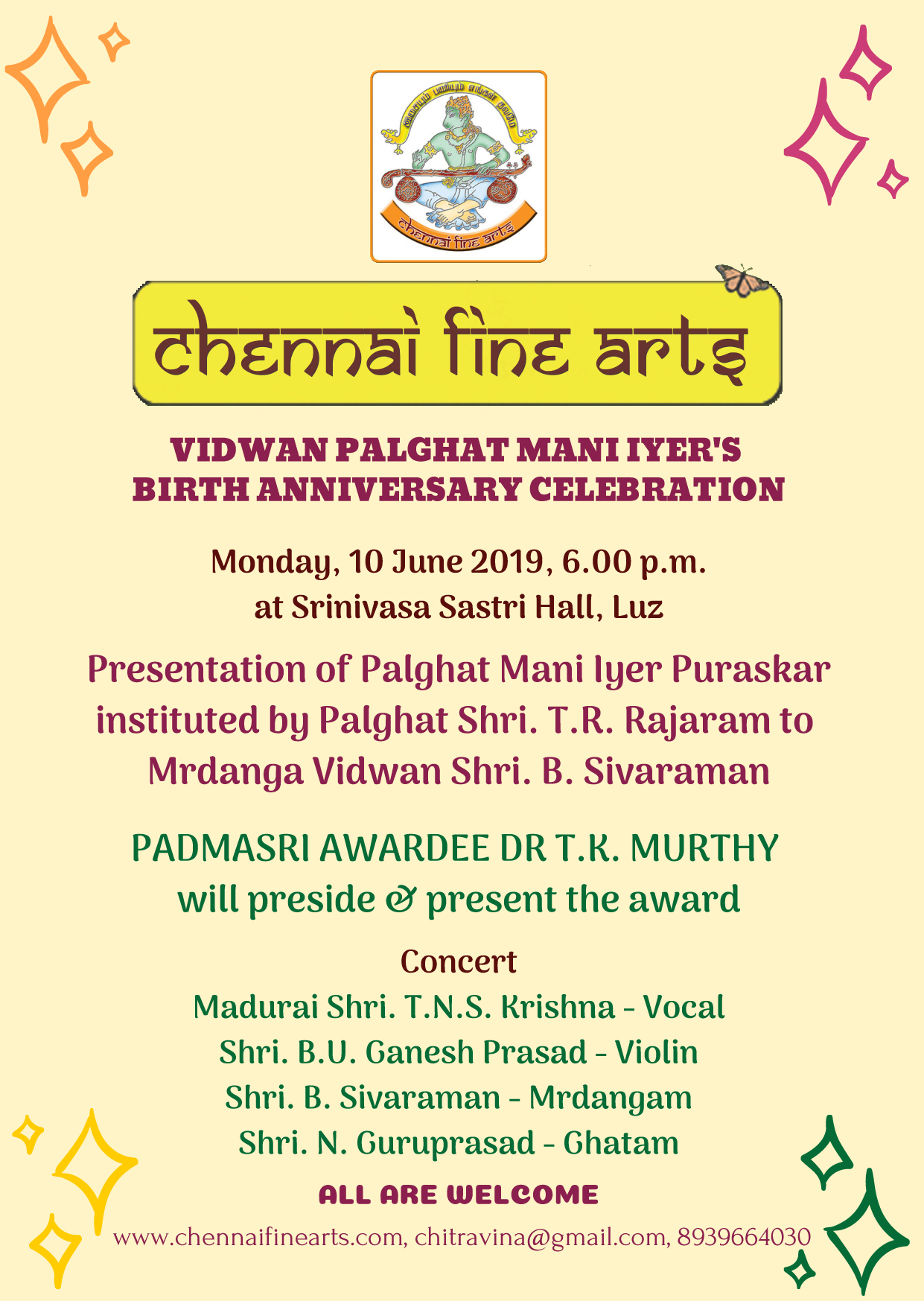 Vidwan Palghat Mani Iyer's Birth Anniversary Celebration
