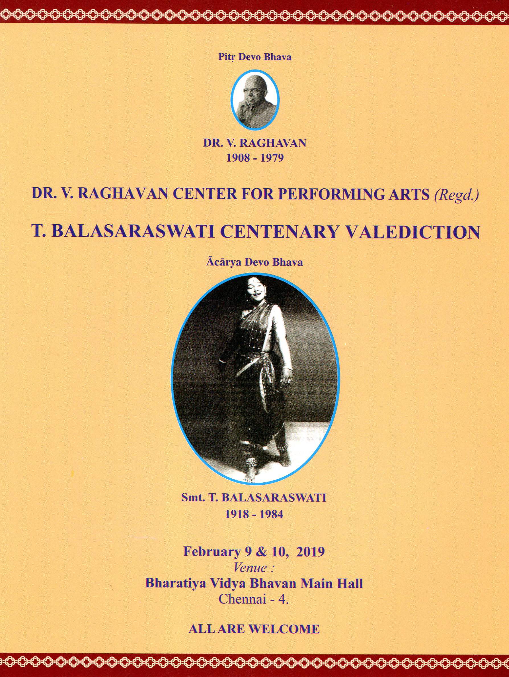 T Balasaraswati Centenary Valediction